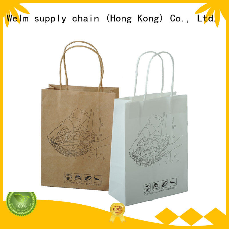 Welm dried kraft paper bags with handles for gift shopping