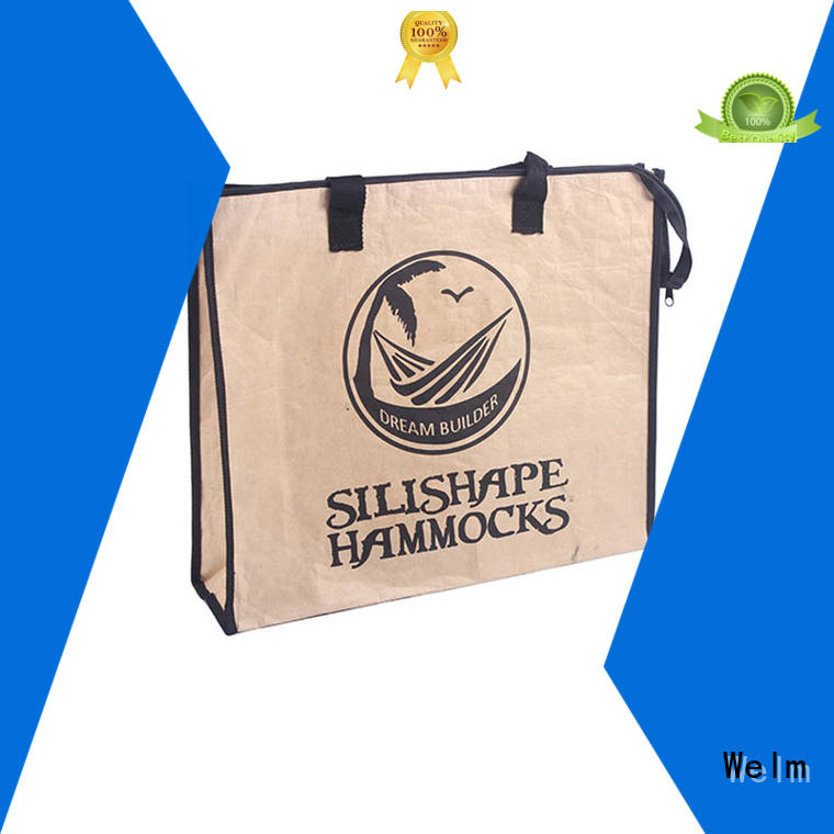 Welm woven kraft bags with die cut handle for sale