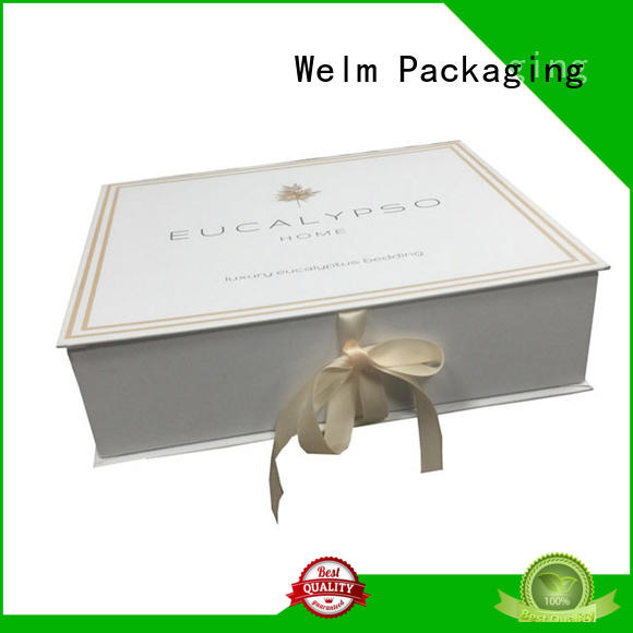 Welm cardboard glossy black collapsible gift boxes suppliers online