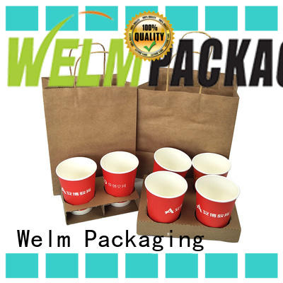 Welm paper bags wholesale with gold logo print for shopping