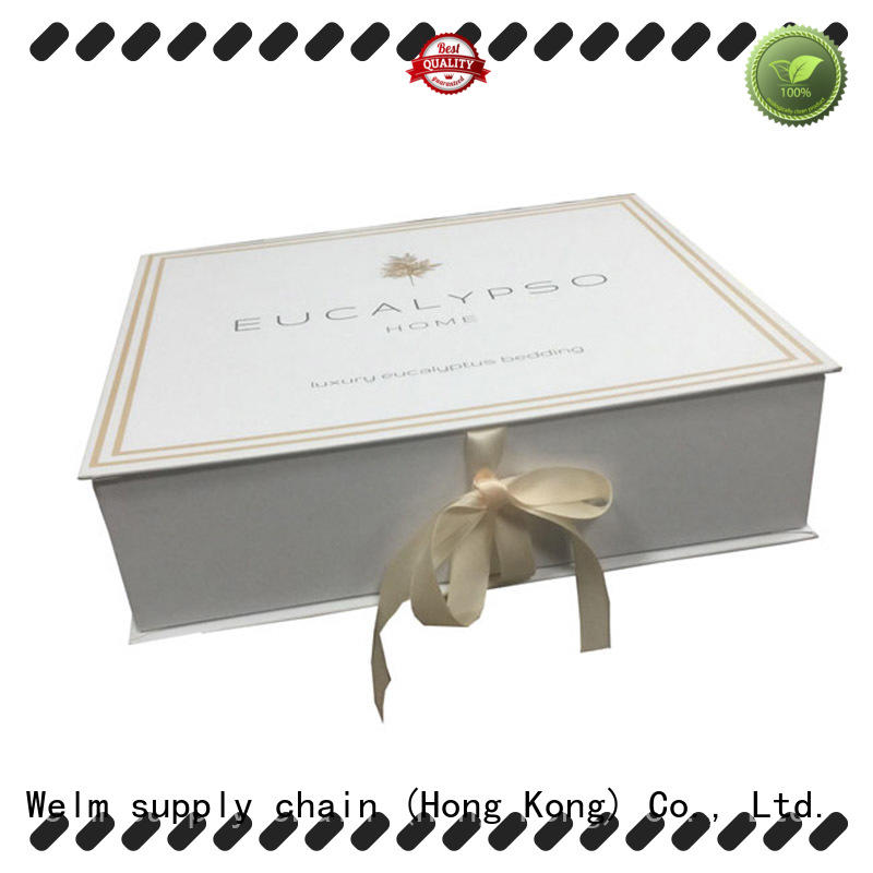 Welm cardboard magnetic closure box with ribbon for gift