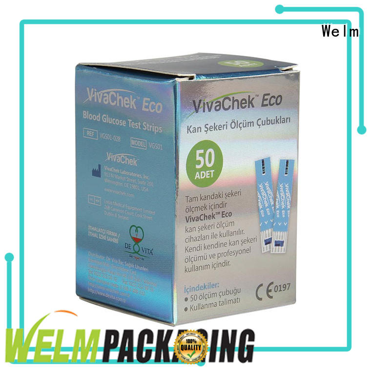 Welm wholesale pharma packaging manufacturers for blood glucose test strips