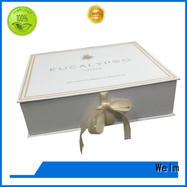 Welm high quality white magnetic gift box with ribbon for sale