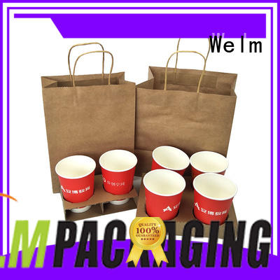 brown printed paper bags food for gift shopping