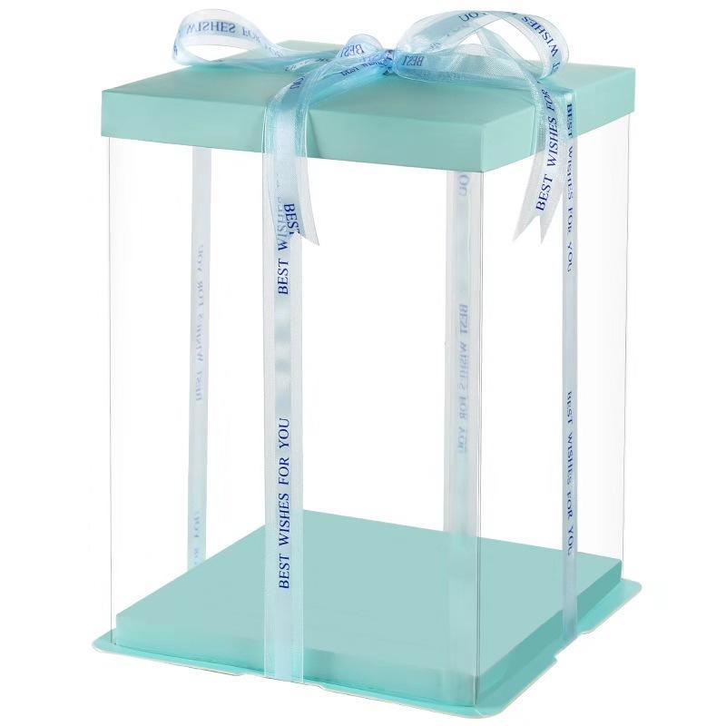 Transparent PET Plastic Clear Decorative  Square Cake Box