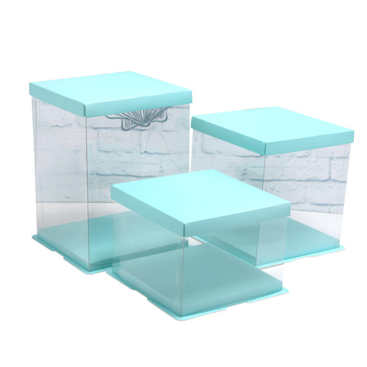 Transparent PET Plastic Clear Decorative  Square Cake Box