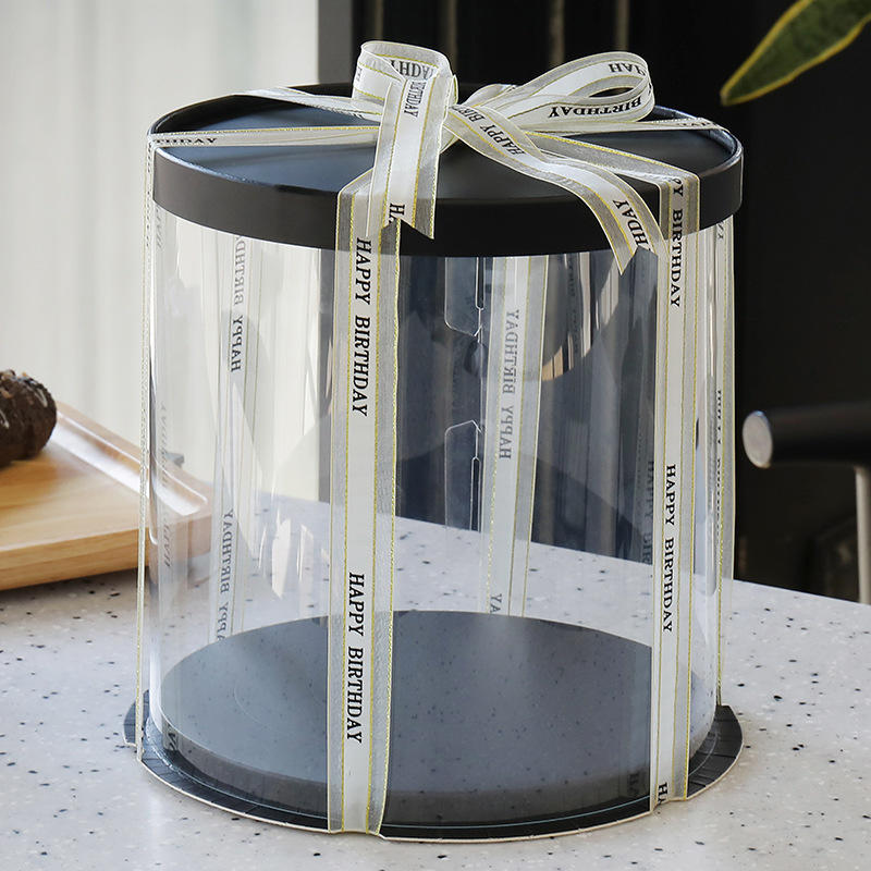Custom Tall Clear Transparent Round Packaging Cake Box