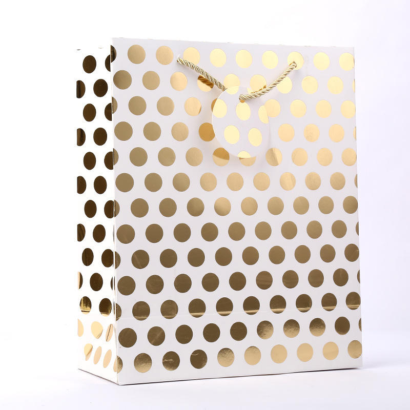 Custom logo white kraft printing paper bags polka dot gift bags with handle