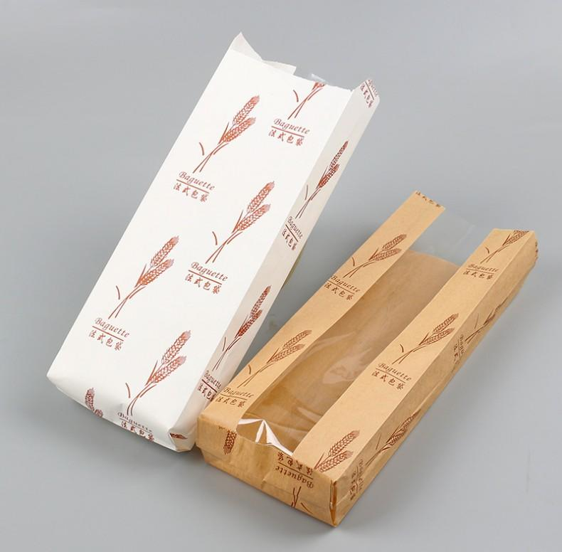Custom Printed Baguette Bread Bag Brown Kraft Paper Packaging Bag