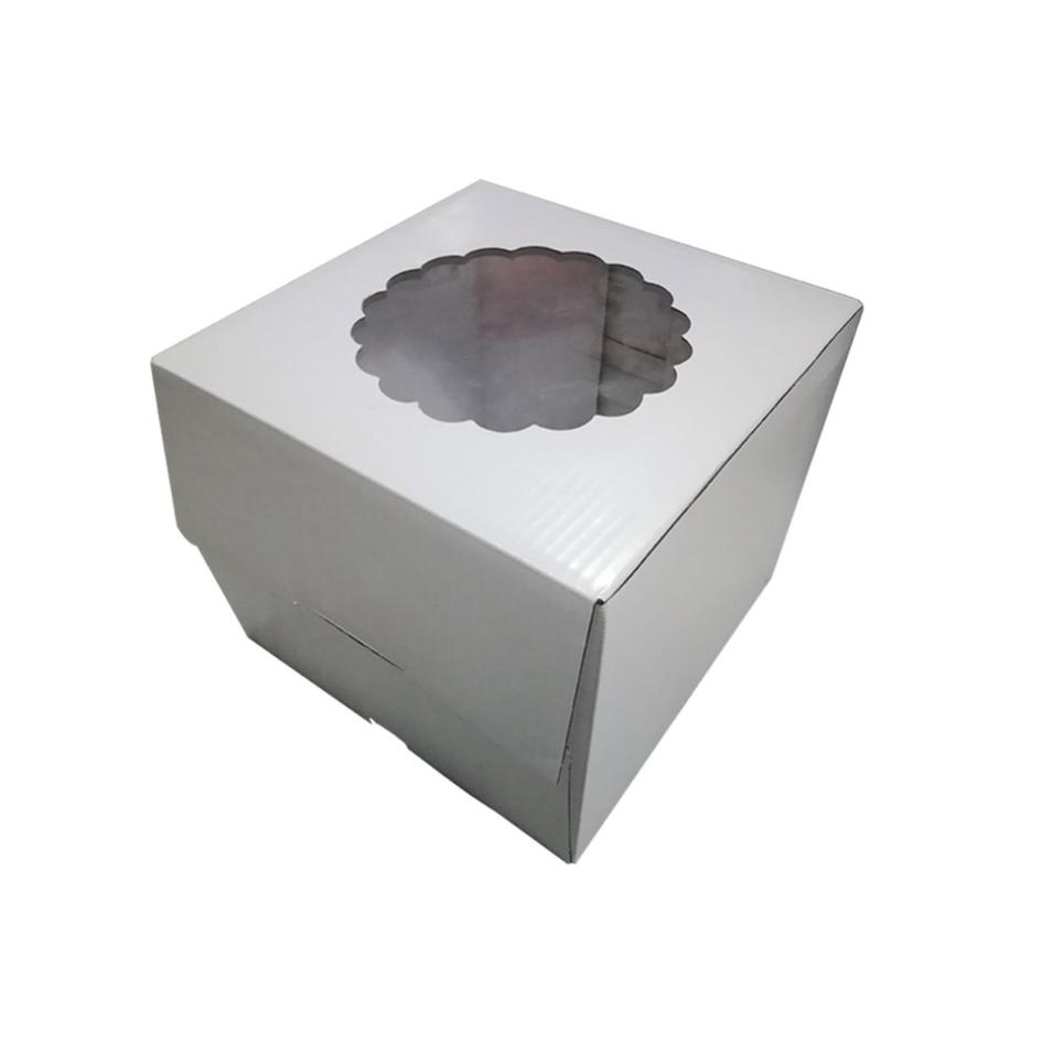 White Board Birthday Paper Cake Packing Box With Display Window