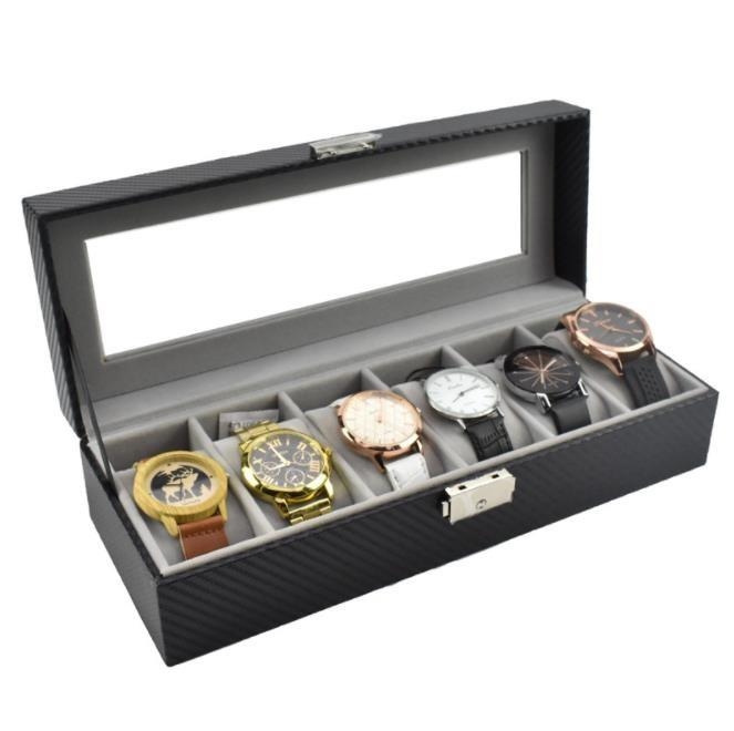 Custom made high quality leather watch box with six compartments