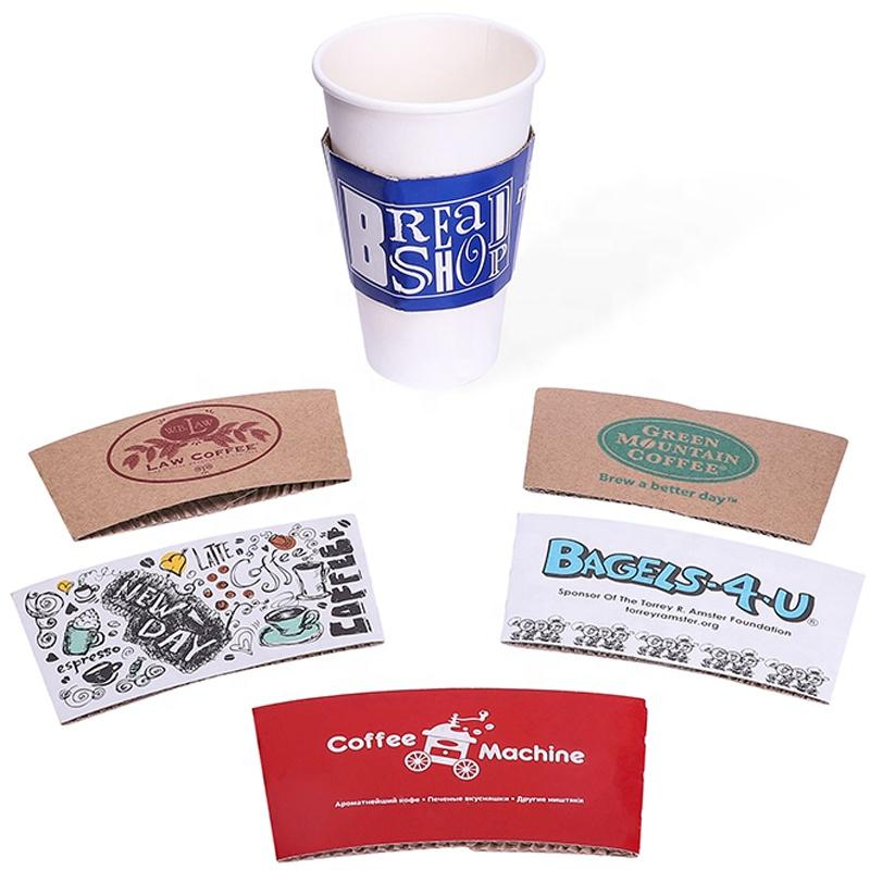 Disposable Printed Kraft Paper Cup Sleeve For Coffee embossed cup sleeve