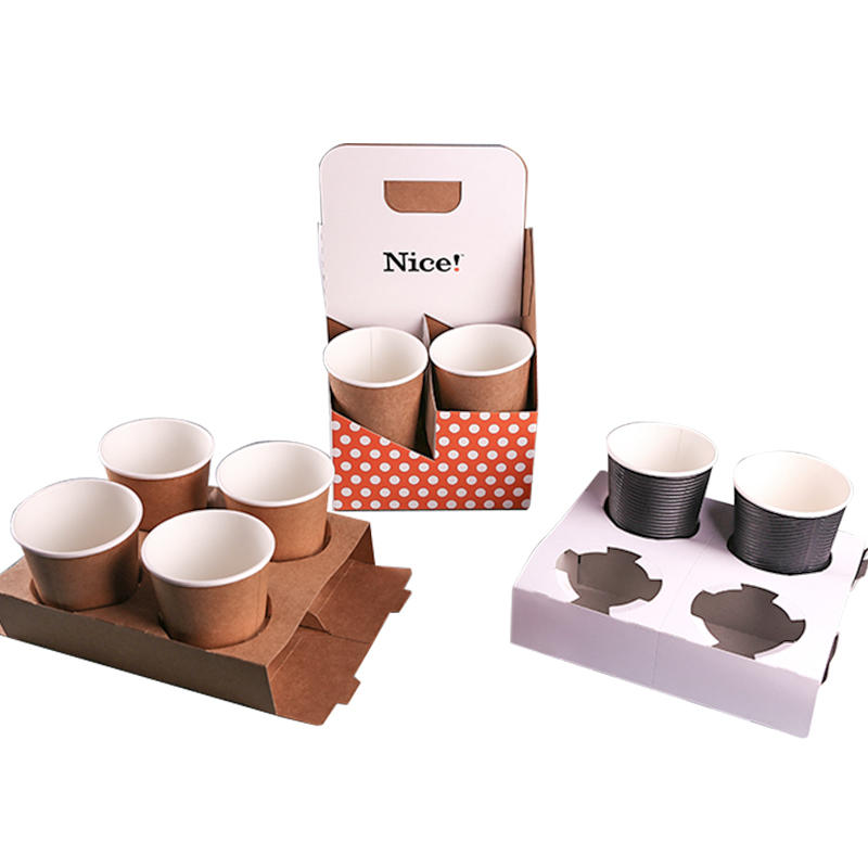 Taking Away Paper Cup Holder Tray Custom Disposable Paper Cup