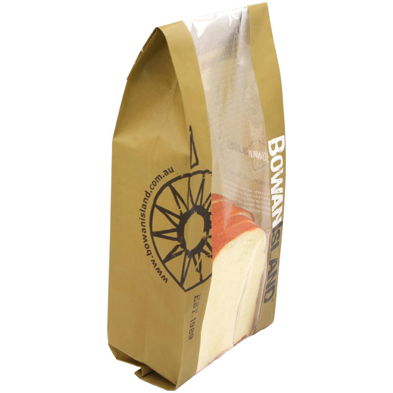 Custom Design Printed Kraft Paper Bread Bag With Window