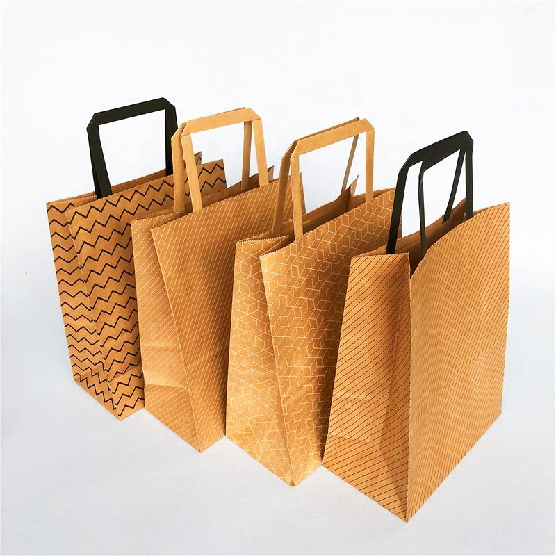 120gsm flat paper handles brown craft paper bag