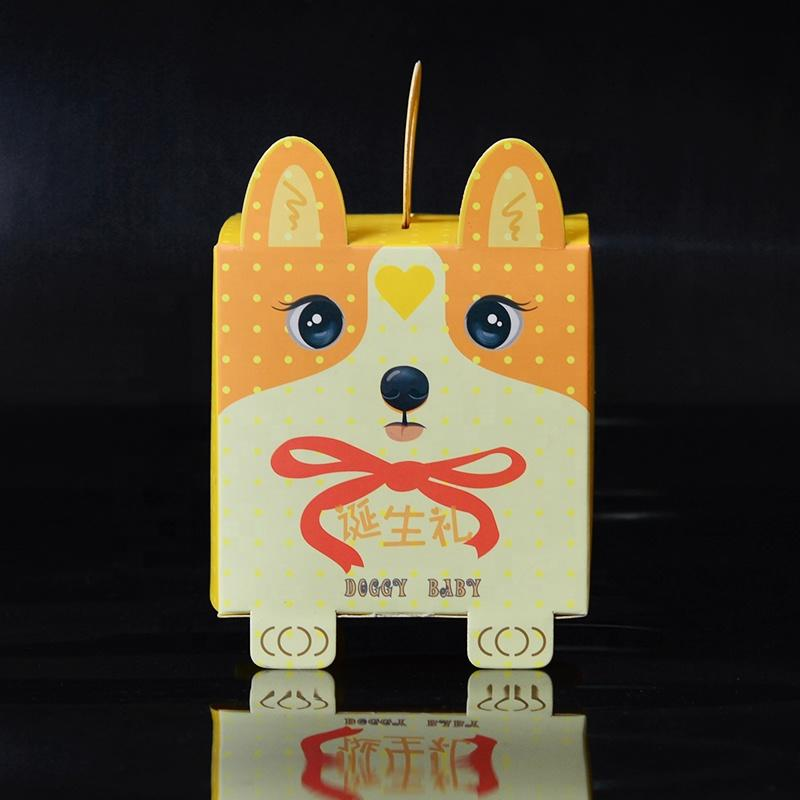 Foldable Custom Paper Dog Shape Packaging Cake Boxes With Handle