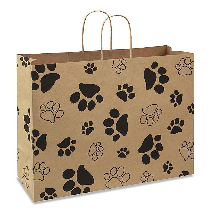 Professional Paw Print Kraft Paper Shopping Bags With Handle Custom Logo Factory From China-Welm