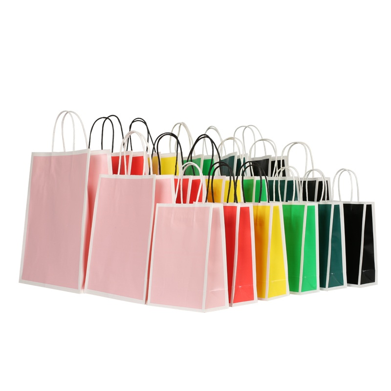 customized kraft paper gift bags with handles ziplock for business for shopping-4