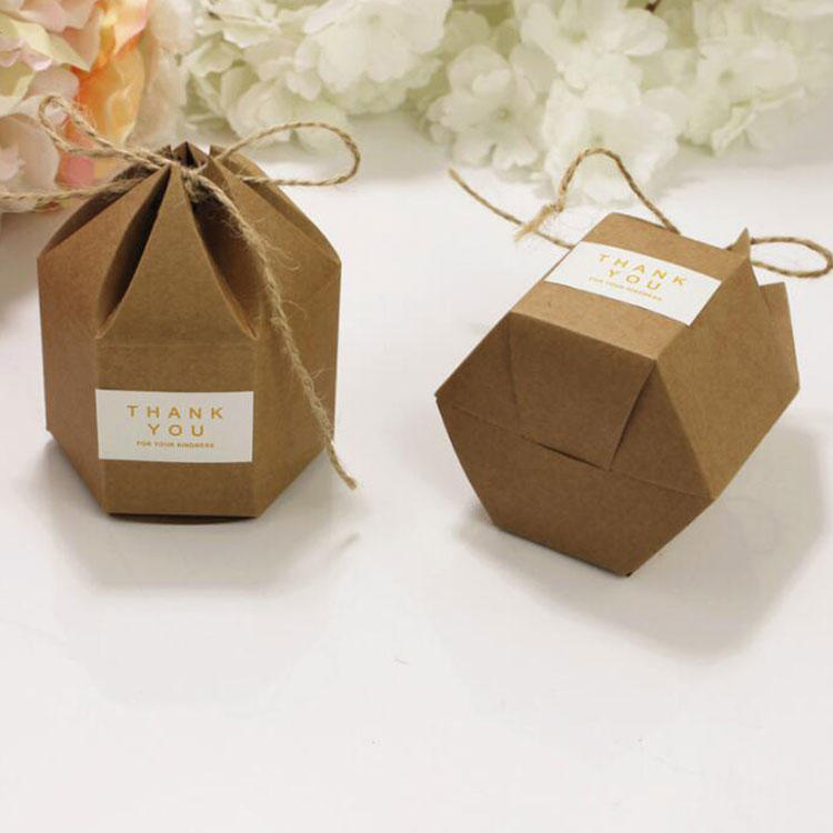 Sticker Rope Diy Party Gift Packing Wedding Candy Kraft Hexagon Paper Box