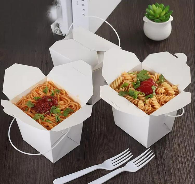 Salad box with plastic handle