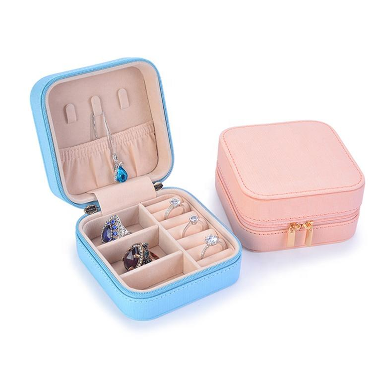 Custom Logo Small Travel Jewelry Box Lady PU Leather Zipper Closure Earring Jewelry Storage Box Travel Jewelry Organizer