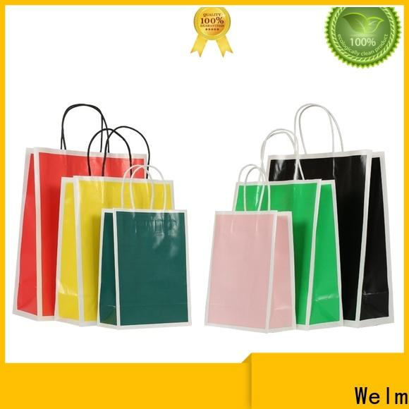 Welm bag brown paper shopping bags bulk with die cut handle for gift shopping