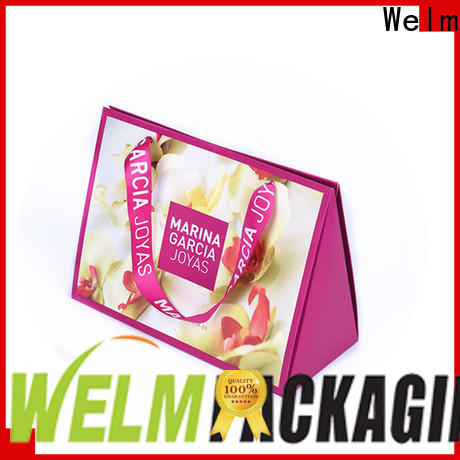 Welm logo brown paper carrier bags suppliers for gift shopping
