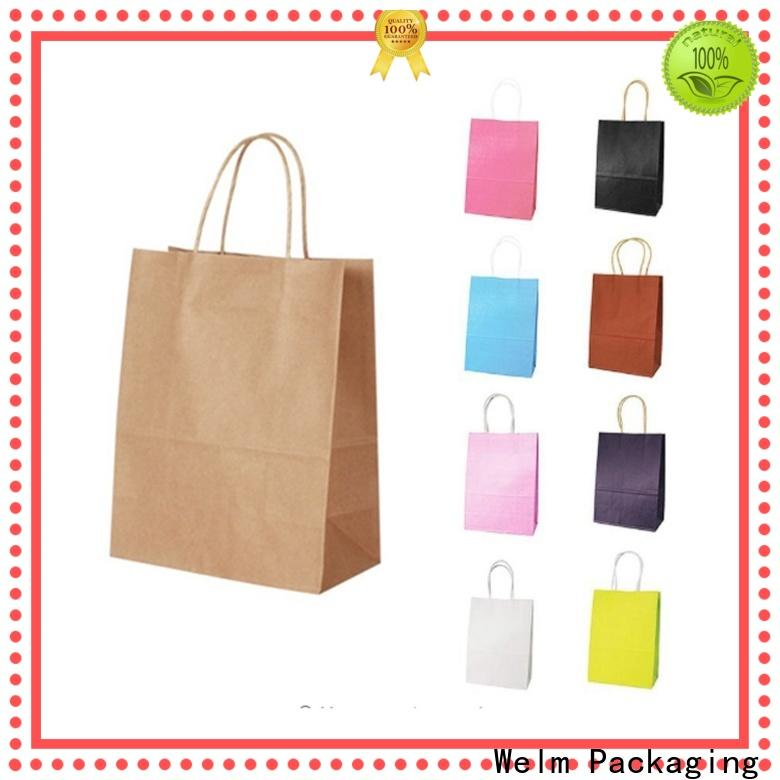 Welm handle plain brown bags with handles suppliers for gift shopping