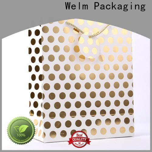 Welm premium where to buy plain paper bags with die cut handle for gift shopping