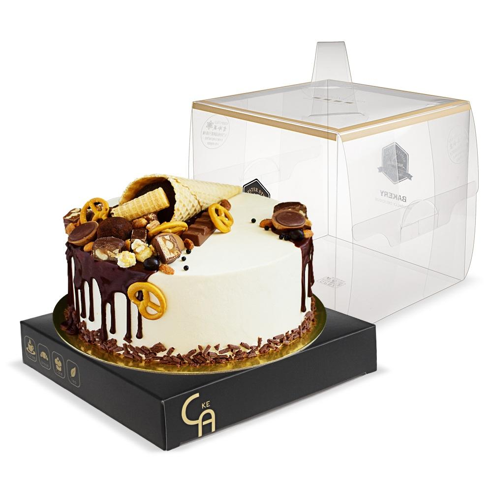 Food Grade Custom Take Away Clear Square Plastic Tall Birthday Cake Boxes Packages In Bulk