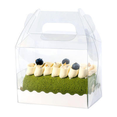 Cake roll packing box with a handle
