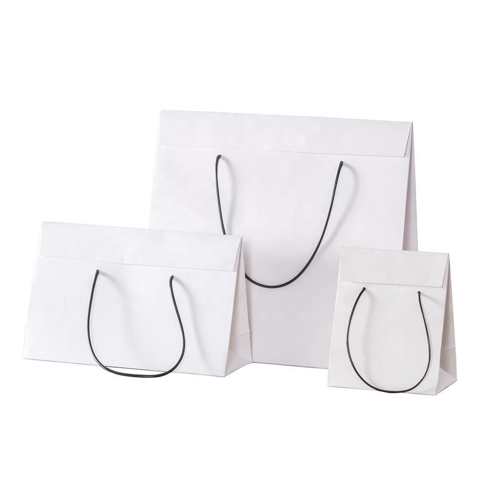 Custom Printed Logo White Brown Kraft Gift Craft Shopping Paper Bag