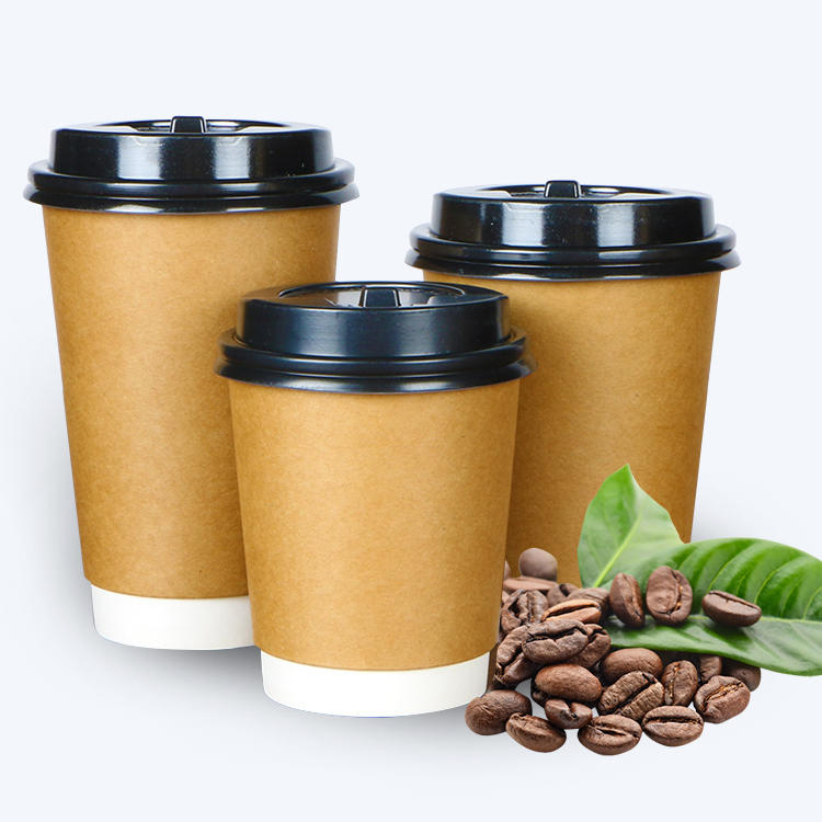Custom logo takeaway insulated disposable to go hot coffee paper cups with lids