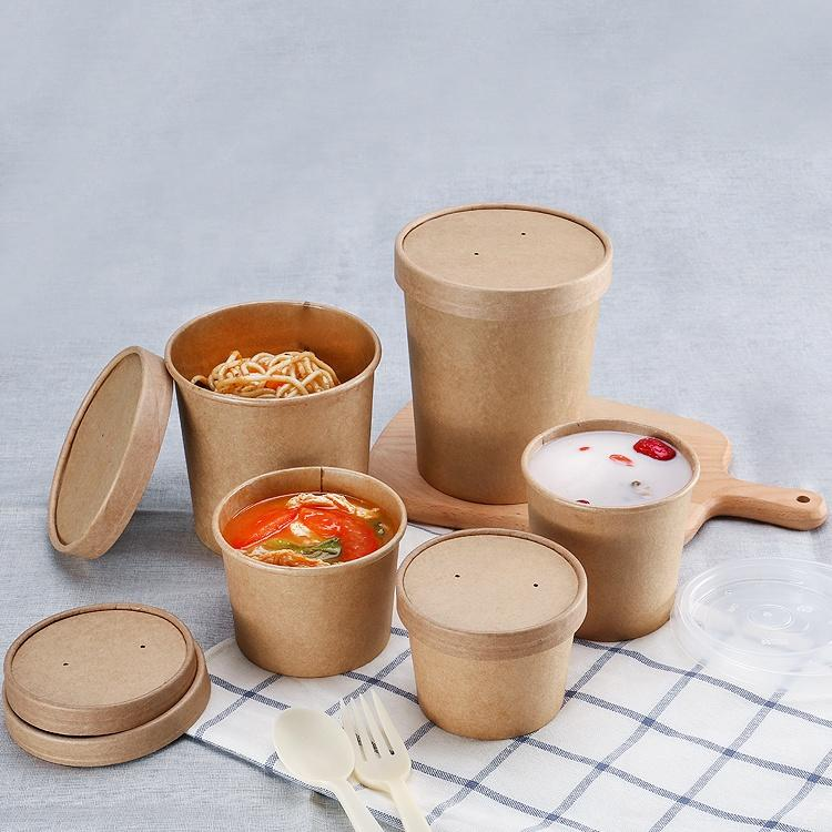 Customized takeaway kraft hot soup cup