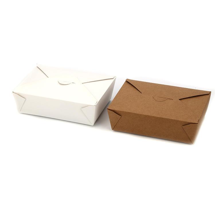 Custom logo printing food take away food grade brownwhite kraft paper box