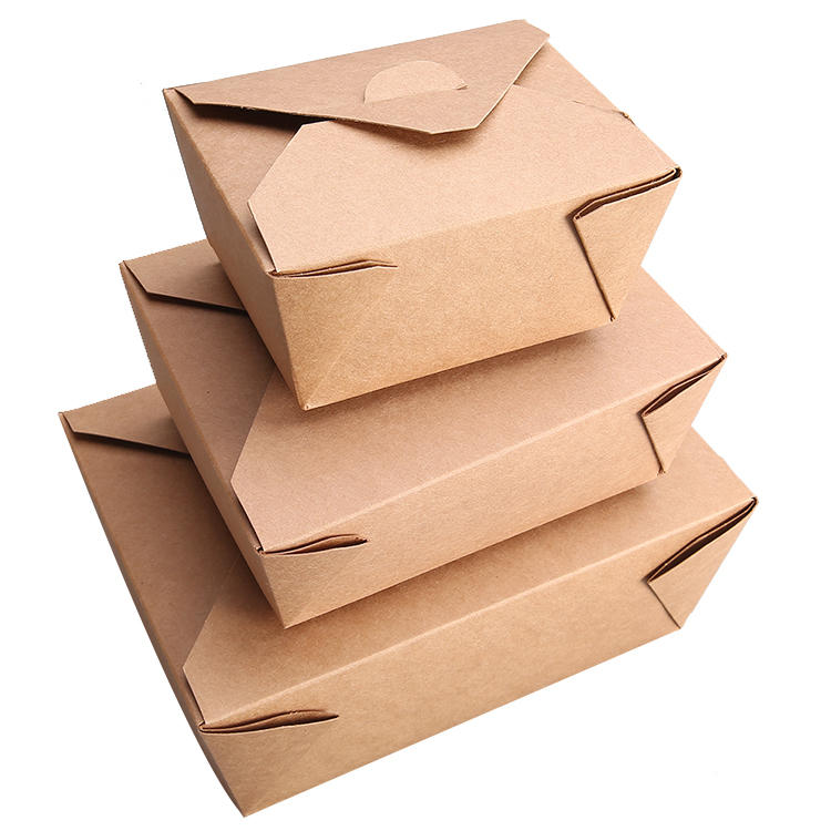 Custom logo printing food take away food grade brownwhite kraft paper box