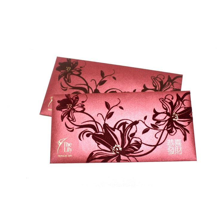 Chinese red bags packet set card printing Golden Stamped Die-Cut Shape Design Customized.