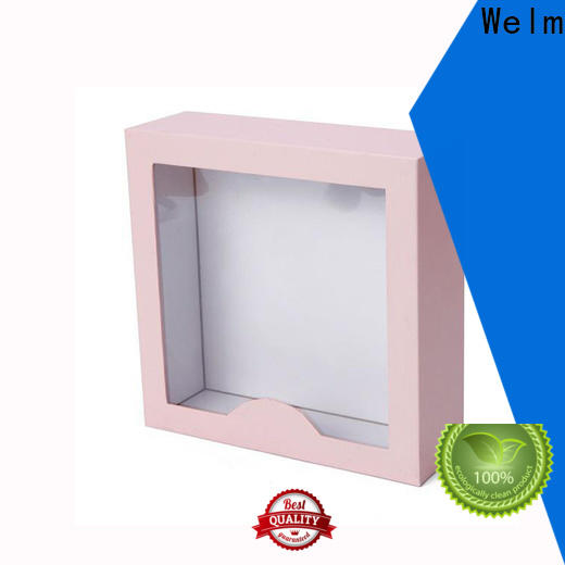 hot stamp logo box packaging packing windows for sale