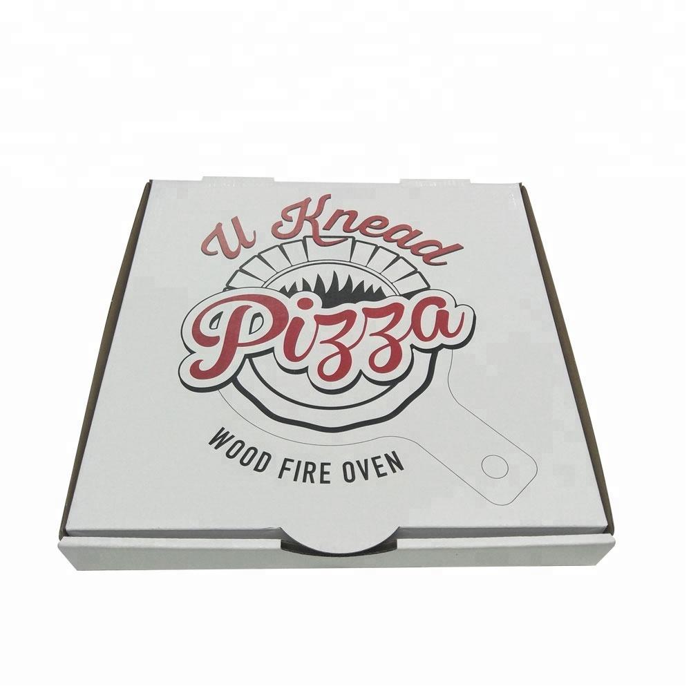 Food grade flute corrugated custom printed size caja para pizza design cardboard carton pizza box