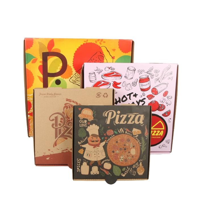 Wholesale Pizza Box Color Creative Eco-friendly Take Away Cardboard Corrugated Pizza Packing Box