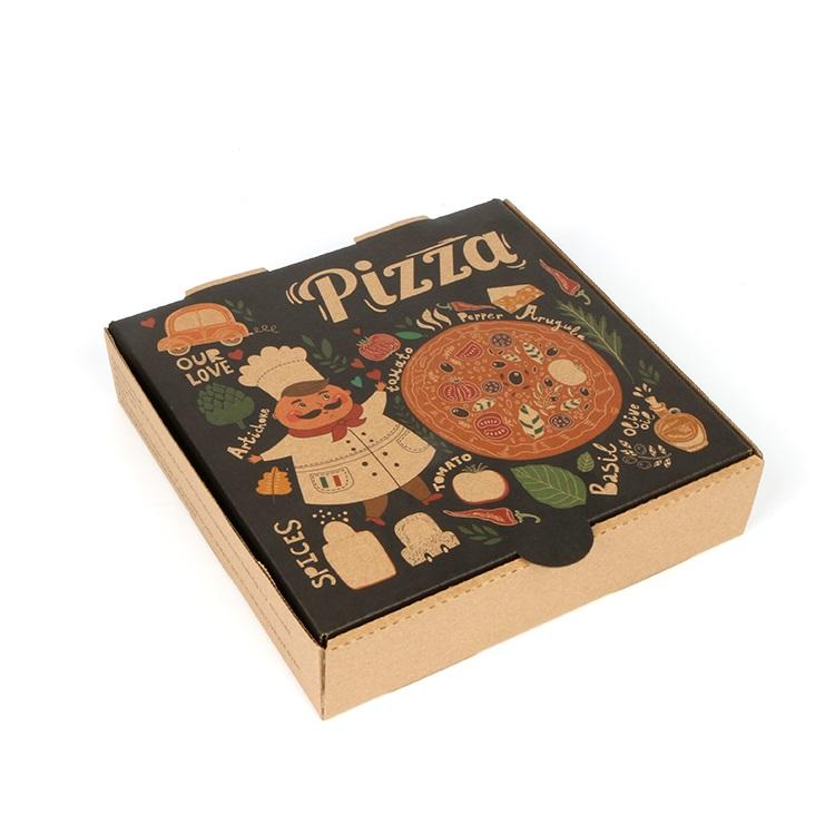 Wholesale Pizza Box Color Creative Eco-friendly Take Away Cardboard Corrugated Pizza Packing Box Hong Kong welm