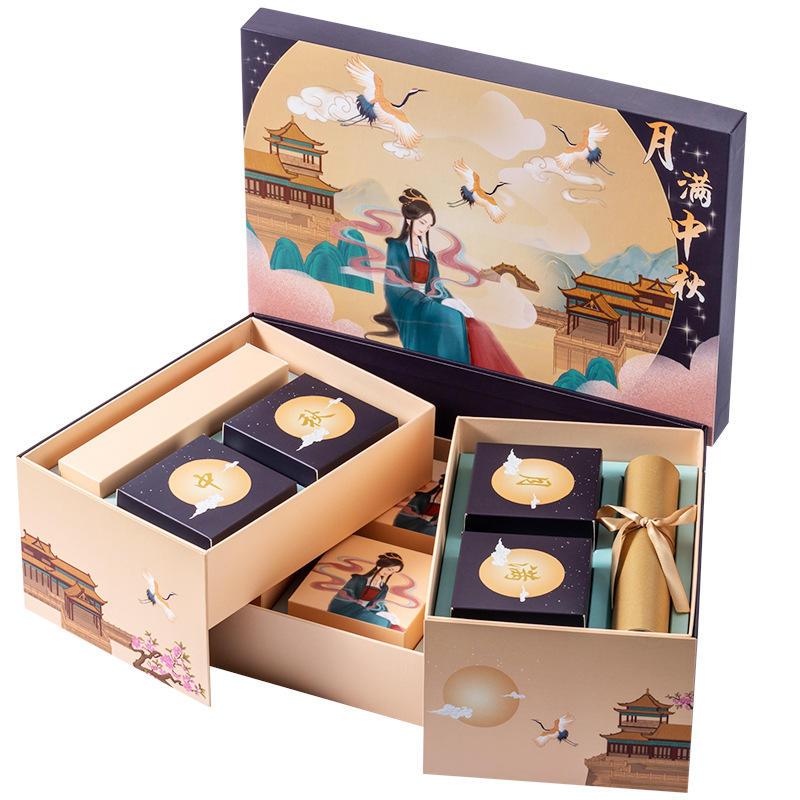 Hong Kong Mooncake Box Manufacturer High quality moon cake packaging box package gift packing cardboard gift packaging mooncake paper box