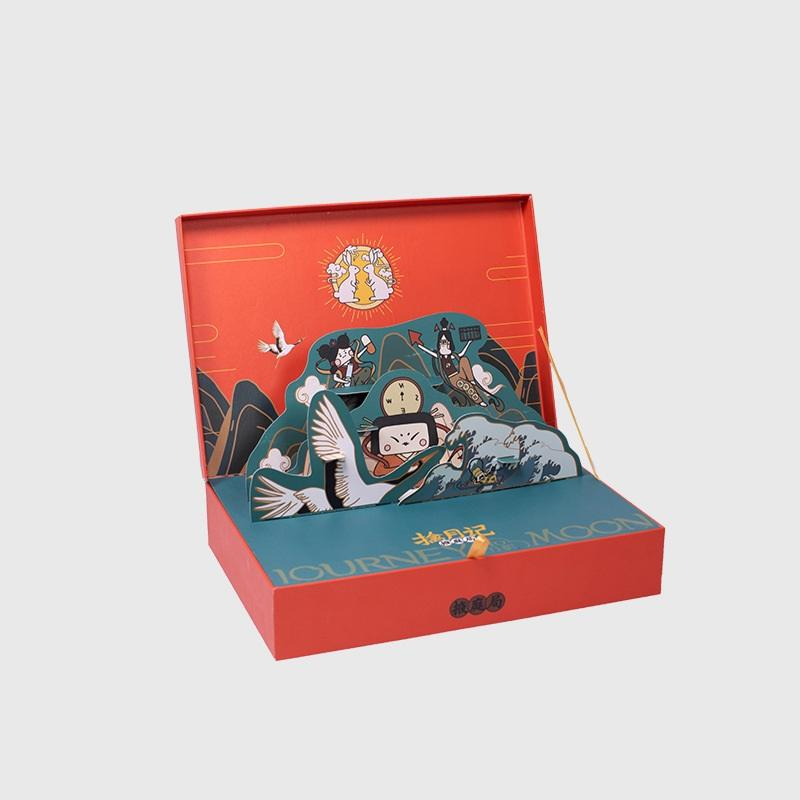 Luxury cardboard moon cake gift packaging double layer drawer paper mooncake box