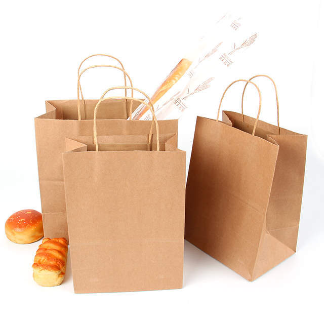 HK Manufacturers Custom Printing Coffee Brand Food Grocery Shopping Carry Packaging Recycled Brown Kraft Paper Bags