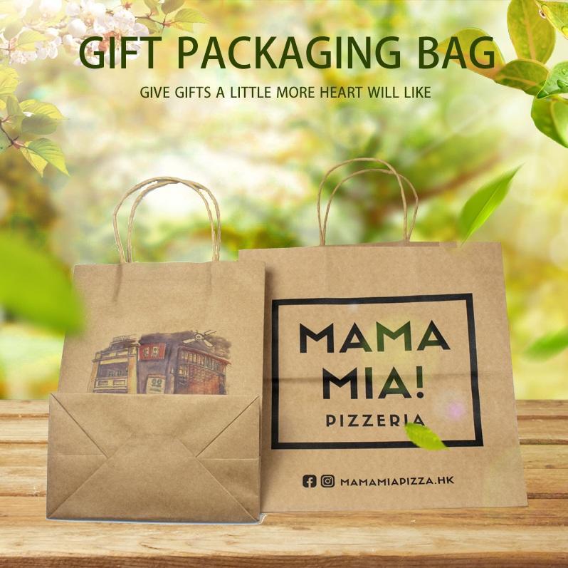 Hong Kong supplier Wholesale Custom Logo Printing Recycled Reusable Food Take Away Grocery Party Gift kraft paper bag