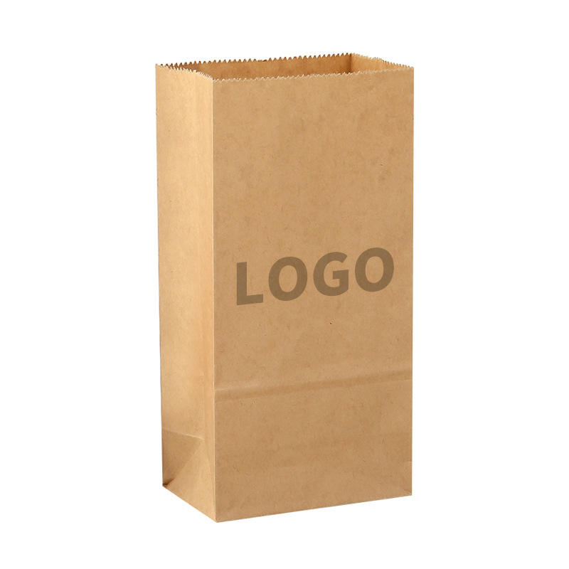 HongKong local Manufacturer Design Logo Size Bakery Food Printed 60g 70g 85g Brown White Kraft paper Bread loaf Packaging Paper Bag