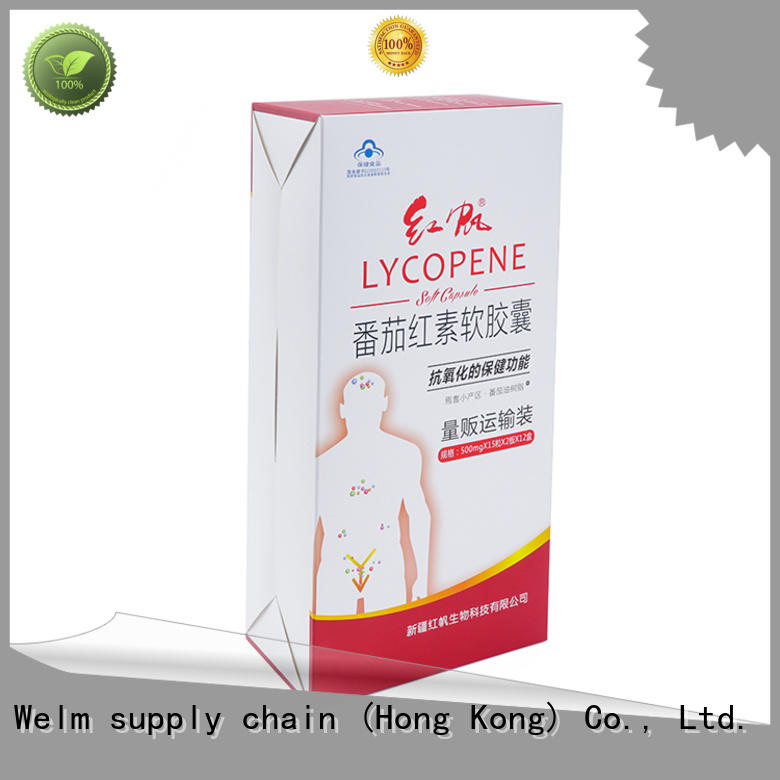 Welm capsules custom printed cardboard boxes with pvc window for sale
