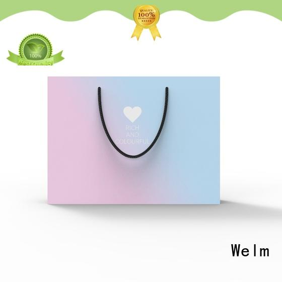 Welm handle recycled paper bags with handles wholesale with die cut handle for sale