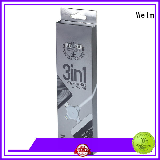Welm rectangular electronics packaging design with pvc window for men