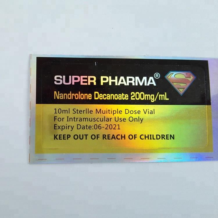 Deca hologram metallic gold shiny 5mg sticker custom brand waterproof 10ml steroid vial label